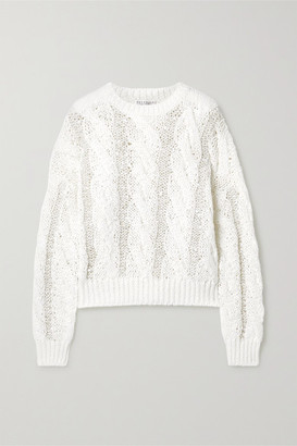 Brunello Cucinelli Sequin-embellished Cable-knit Sweater - White