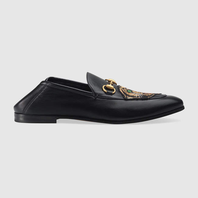 Gucci Leather Horsebit loafer with panther