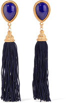 Ben-Amun Gold-tone, stone and cord clip earrings
