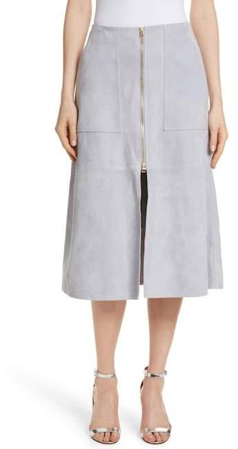 Diane von Furstenberg Patch Pocket Suede Midi Skirt