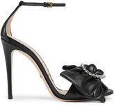 Gucci Leather sandal with jeweled leather bow - women - Leather - 36