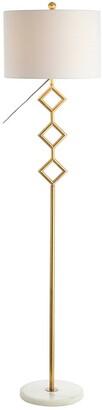 Jonathan Y Designs Diamante 61.5In Modern Gilt Metal With Marble Based Led Floor Lamp
