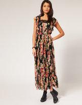 Lace Trim Floral Maxi Dress