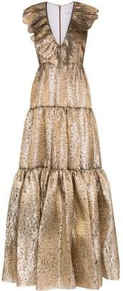 Halpern ruffled V-neck gown