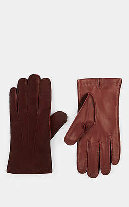 Barneys New York Men's Cashmere-Lined Leather & Suede Gloves - Navy