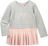 Juicy Couture Quilted Sweatshirt Pleated Faux Leather Skirt Dress (Toddler Girls)