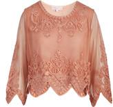 Pretty Angel Women's Blouses ORANGE(OR) - Orange Sheer-Sleeve Embellished Scallop Silk-Blend Crop Top - Women