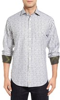 Thomas Dean Men's Classic Fit Paisley Stripe Sport Shirt