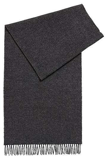 HUGO BOSS Melange-effect wool scarf