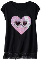 Miss Chievous Girls 7-16 Sequin Applique Lace Hem Tee