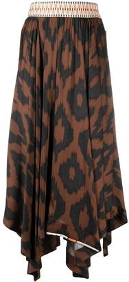 Bazar Deluxe Geometric-Print Asymmetric Midi Skirt