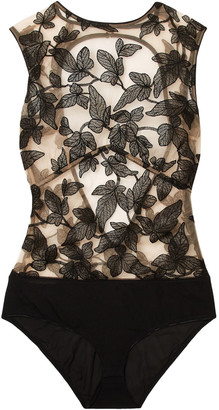 I.D. Sarrieri Fleur Interdit Open-back Embroidered Stretch-tulle And Jersey Bodysuit
