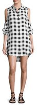 LaBlanca La Blanca Eyes on You Cold-Shoulder Buffalo Check Shirtdress, White/Black