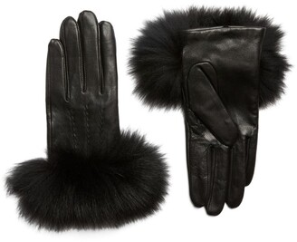Canadian Hat Leather Fox Fur-Trim Gloves