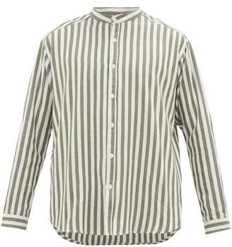 Marrakshi Life - Nero Band-collar Striped Cotton-blend Shirt - Mens - Green Multi