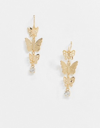 ASOS DESIGN earrings with butterfly and crystal drop in gold tone