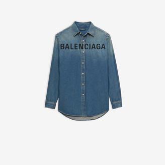 Balenciaga Chest Logo Shirt in vintage blue light denim