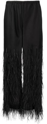Cult Gaia Elasticated Feather-Detail Trousers