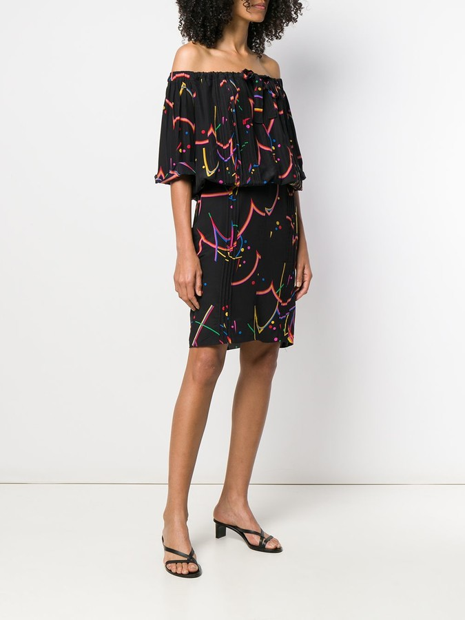 Thumbnail for your product : Prada Pre-Owned Off-Shoulder Printed Dress