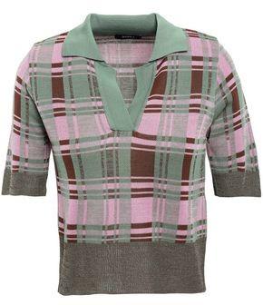 GOEN.J Checked Jacquard-knit Polo Shirt