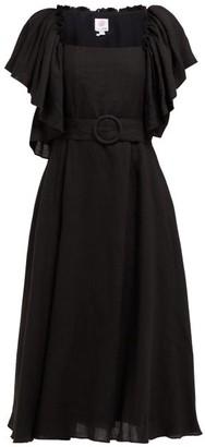 Gül Hürgel Ruffle-trimmed Belted Linen Midi Dress - Womens - Black