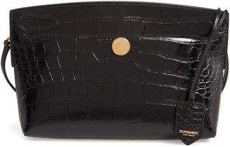 Burberry Society Embossed Leather Clutch