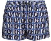 Dolce & Gabbana - Logo Tile Print Swim Shorts - Mens - Blue
