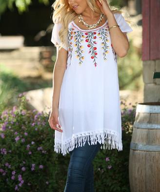 Ananda's Collection Women's Tunics white - White Floral Tassel Hem Tunic - Women