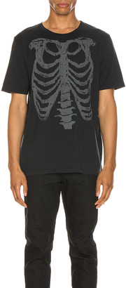 Saint Laurent Ribcage Print Tee in Washed Black & Natural | FWRD