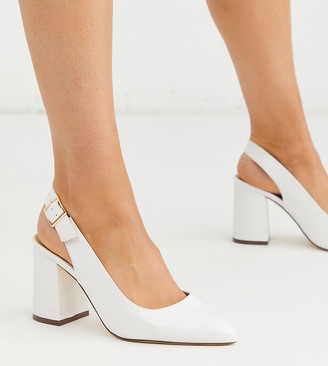 London Rebel wide fit sling back block heel in white