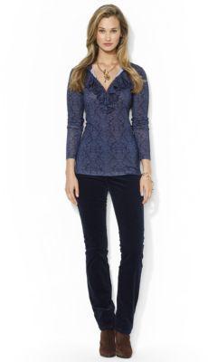 Lauren Ralph Lauren Ruffled-Front Long-Sleeved Tee