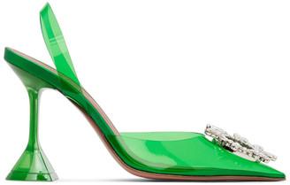 Amina Muaddi Green Begum Glass Slingback Heels