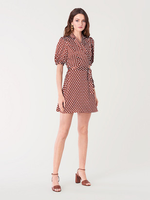 Diane von Furstenberg Maisie Satin Mini Wrap Dress