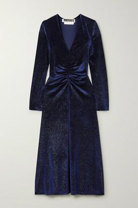 Rotate by Birger Christensen Ruched Glittered Velvet Midi Dress - Midnight blue