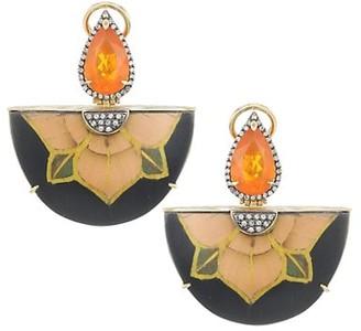 Silvia Furmanovich Marquetry 18K Yellow Gold, Fire Opal & Light Brown Diamond Flower Fan Earrings