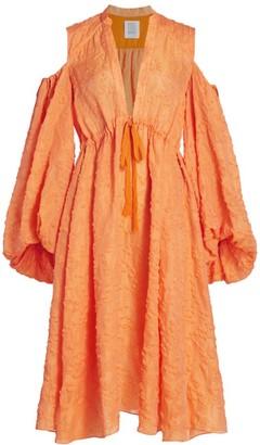 Rosie Assoulin Cold-Shoulder Gathered Shirtdress