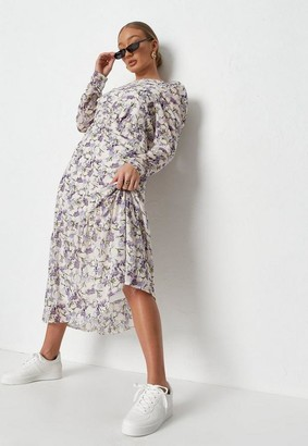 Missguided Cream Puff Sleeve Midi Smock Dress