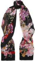 Dolce & Gabbana Printed Silk-chiffon Scarf - Black
