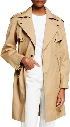MICHAEL Michael Kors Snap-Button Twill Trench Coat w/ Chain Belt