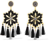 Mercedes Salazar Hibiscus Tasseled Gold-tone Clip Earrings - Black