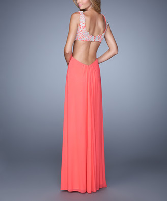 La Femme Women's Special Occasion Dresses Pink - Pink Grapefruit Floral Lace Side-Cutout Sleeveless Gown - Women