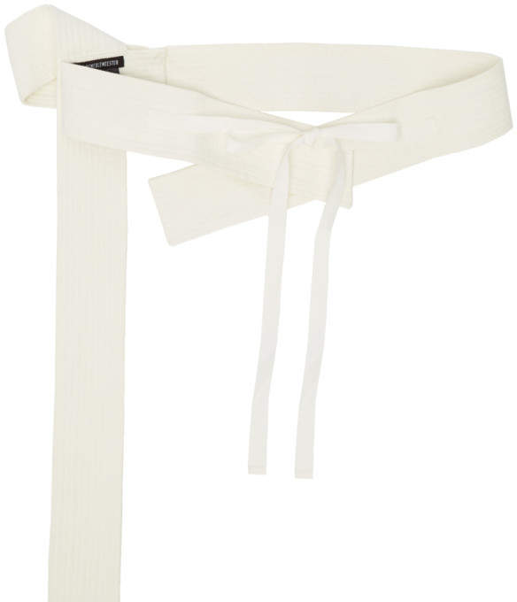 Ann Demeulemeester Off-White Topstitched Belt