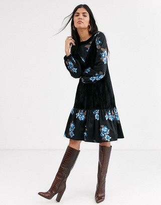 Lost Ink midi dress with velvet inserts