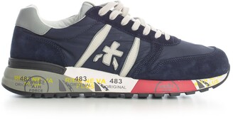 Premiata Lander Sneakers Leather Upper Rubber Sole Blue