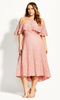 City Chic Enticing Lace Dress - pink