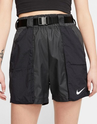 Nike woven buckle shorts in black