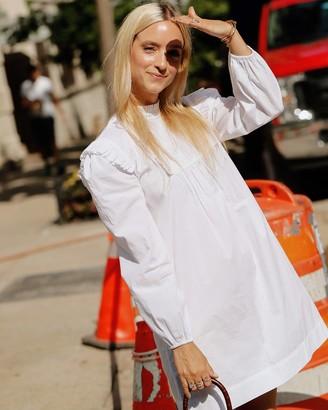 The Drop Women's White Ruffle Bib Mini Dress by @thefashionguitar S