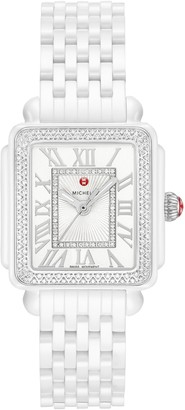 Michele Deco Madison Mid Diamond Watch Head & Ceramic Bracelet, 29mm