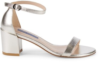 Stuart Weitzman Simple Leather Ankle-Strap Sandals