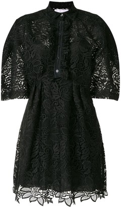 Carolina Herrera Lace Short-Sleeve Shirt Dress